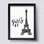 Tourism poster or card design for Paris — Stock Vector