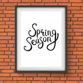 Spring Season Message in a Frame on Brick Wall — Stock Vector