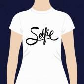 一件 t 恤的自拍照简单文本设计 — 图库矢量图片