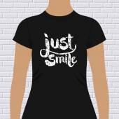 Just Smile t-shirt design — Stock Vector