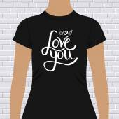 Black Shirt with Love You Message and Winged Heart — Stock Vector