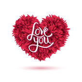 Love You Message on Red Flowers Forming Heart — Stock Vector