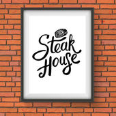 Steak House Restaurant Sign Hanging on Brick Wall — Stock Vector