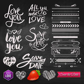 Love Phrases, Borders and Symbols on Chalkboard — Stock Vector