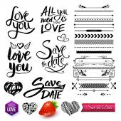 Set of Love Texts, Borders and Symbols on White — Stock Vector