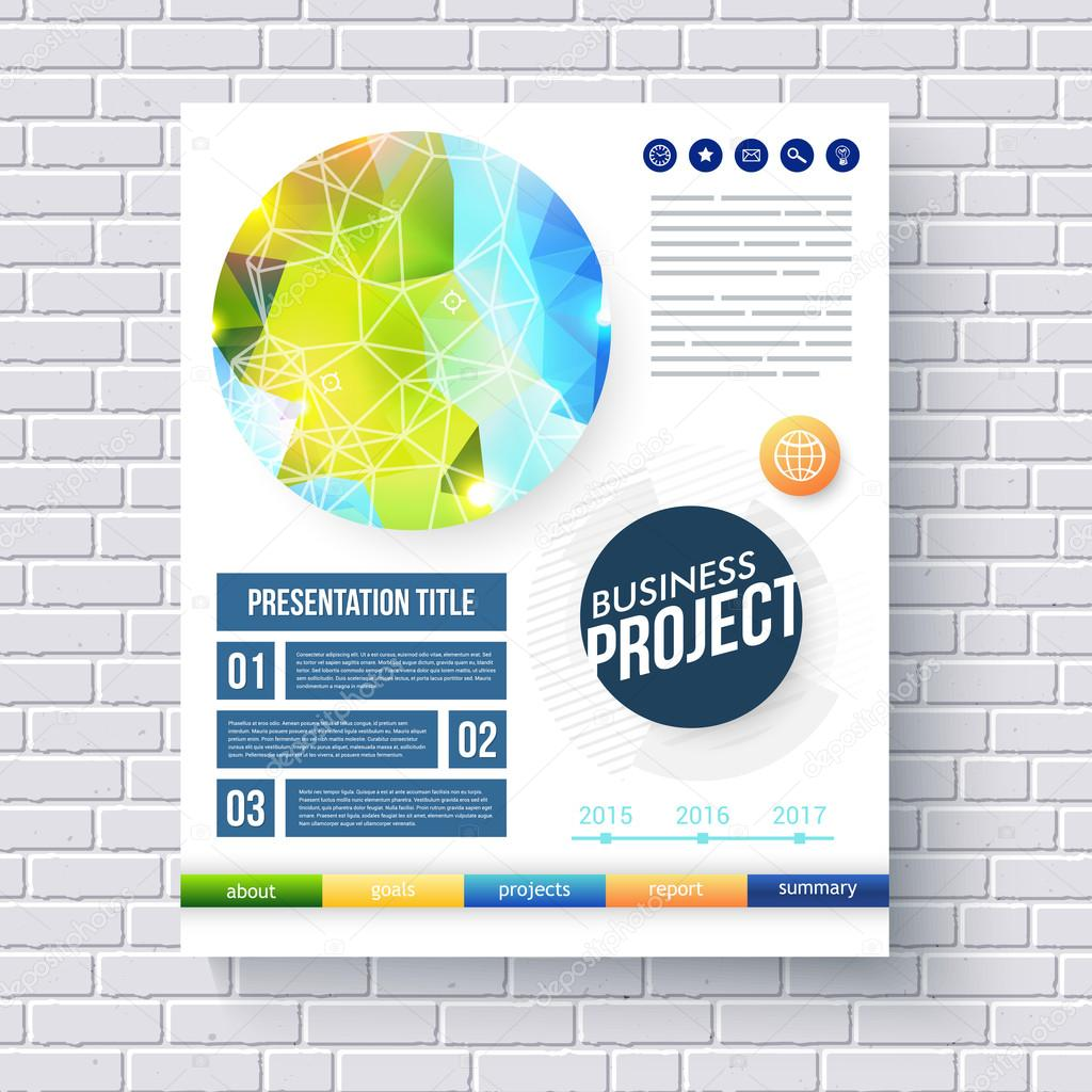 business report design template stock vector copy alevtinakarro business report design template for ecological and conservation projects a fresh blue and green design in a circle a network overlay