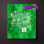 Pretty abstract green Save The Date template — Stock Vector