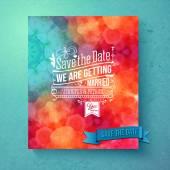 Dynamic vibrant Save The Date wedding invitation — Stock Vector