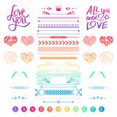 Set of romantic elements for a wedding invitation — Stock Vector