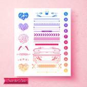 Pretty decorative wedding invitation elements — Stock Vector