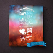 Save The Date template with messages of love — Stock Vector