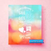 Save The Date wedding invitation template — Stock Vector