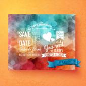 Wedding invitation template with Save The Date — Stock Vector