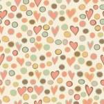 Cartoon hearts and circles seamless pattern. — Stock Vector #52756171