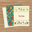 Tea time cards on wood plank background. — Wektor stockowy  #52756203