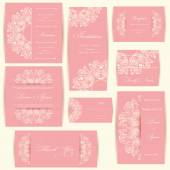 Set of wedding invitation cards — Vector de stock