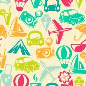 Traveling pattern. Retro travel icons. — 图库矢量图片
