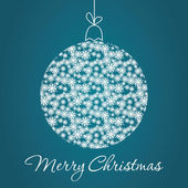 Merry Christmas Greeting Card with snowball made of triangles . — Stock Vector