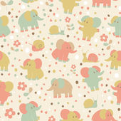 Cute seamless pattern with cartoon funny elephants and snails — Stock Vector