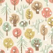 Padrão sem emenda de floresta de inverno. — Vetorial Stock
