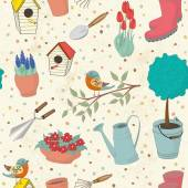 Decorative hand drawn seamless pattern with garden tools. — Stock Vector