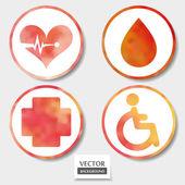 Conjunto de cuatro iconos de medicina — Vector de stock