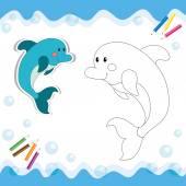 卡通海豚上白色孤立 — 图库矢量图片