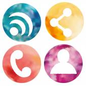 Web and mobile apps circle watercolor buttons set. — Stock Vector