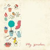 Decorative hand drawn seamless pattern with garden tools. — Stockvektor
