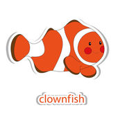 Cartoon clown fish isolated on white. — Stock Vector