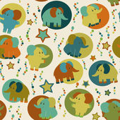 Cute seamless pattern with cartoon funny elephants. — Stock vektor