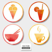 Set of four food icons — Stock Vector