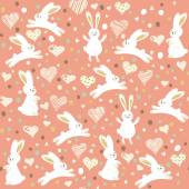 Cute seamless pattern with cartoon funny rabbits. — Vector de stock