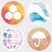 Web e mobile apps cerchio set di pulsanti ad acquerello. — Vettoriale Stock