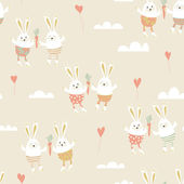 Romantic seamless pattern with cute rabbits in love — Stock Vector