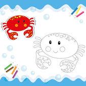 卡通螃蟹上白色孤立. — 图库矢量图片