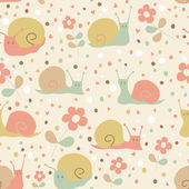 Cute seamless pattern with cartoon funny snails. — Stock Vector