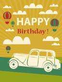 Happy birthday card with retro car and hot air balloons — Stock Vector