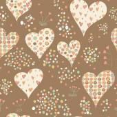 Dibujos animados de corazones de patrones sin fisuras. — Vector de stock