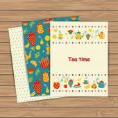 Tea time cards on wood plank background. — Stock Vector