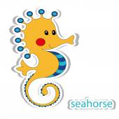 Cartoon seahorse isolated on white — Stock Vector
