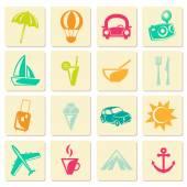 Retro travel summer icons — Cтоковый вектор