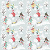 Winter background with children. — Vector de stock