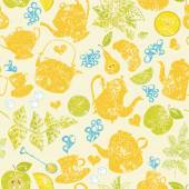 Seamless tea pattern — Stock Vector