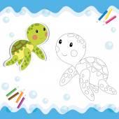 Cartoon sköldpaddan isolerad på vit. — Stockvektor