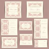 Set of wedding invitation cards — Stock Vector