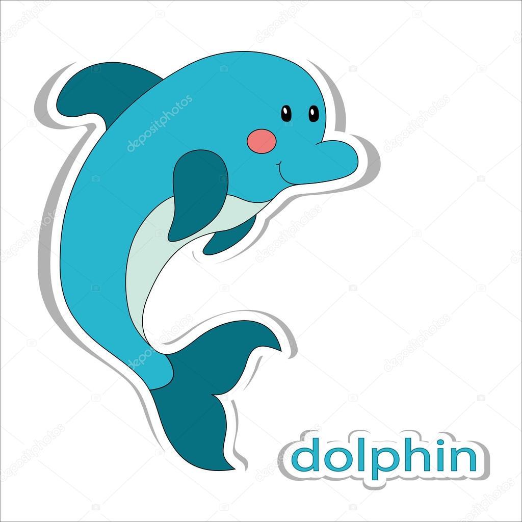 Delfino fumetto isolato su bianco — vettoriali stock