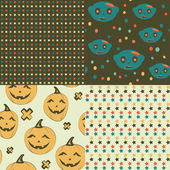 Set of Halloween seamless patterns. — Stock Vector