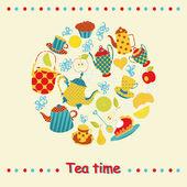 Tea time card. — Stock Vector