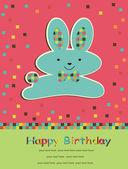 かわいいウサギとグリーティング カード. — ストックベクタ